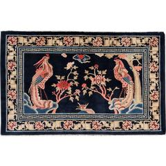 Early 20th Century Antique Blue Pictorial Chinese Rug