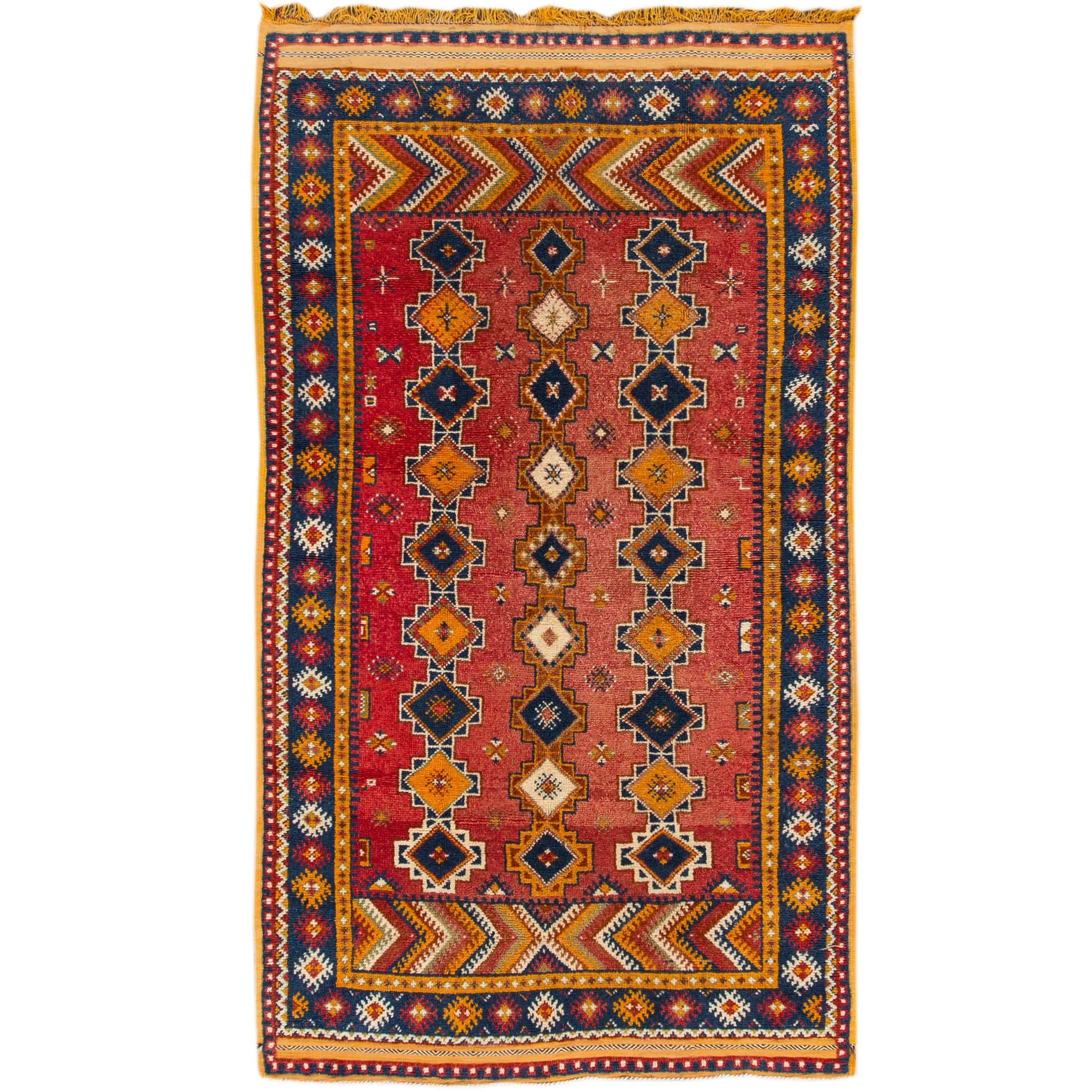 Early 20th Century Antique Moroccan Tribal Wool Rug