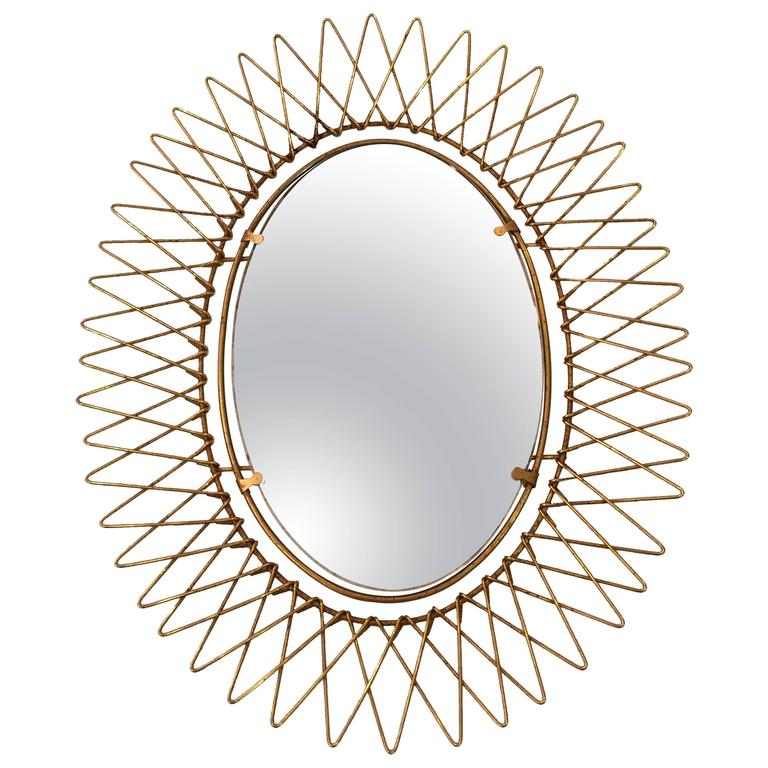 1950s French Petite Brass Sunburst Mirror 1