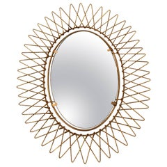 1950s French Petite Brass Sunburst Mirror