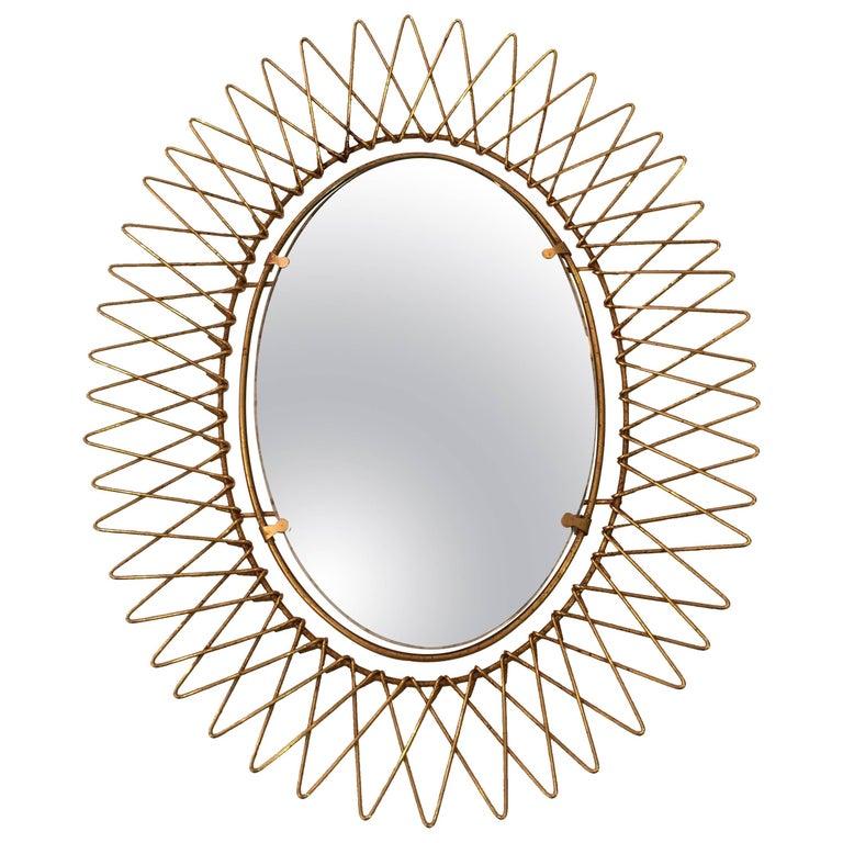 1950s French Petite Brass Sunburst Mirror For Sale