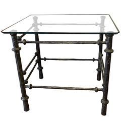 Rectangular Glass Top Iron Base Side Table, French, 1970s