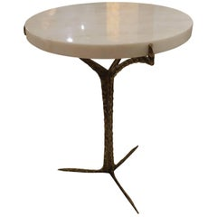 Round White Marble Top, Brass Base Cocktail Table, Portugal, Contemporary