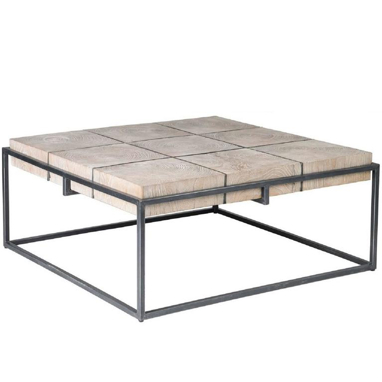 Elmwood and Iron Coffee Table