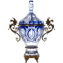 Bronze Mounted Cobalt Cut to Clear Crystal Urn with Figural Wyvern Handle