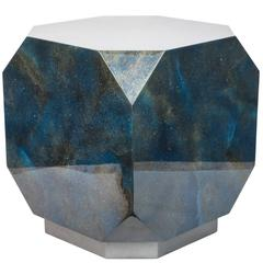 Faceted Lapis Lazuli Blue Resin Side Table