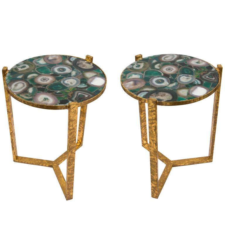 Pair Of French Gilt Iron And Agate Side Tables Circa