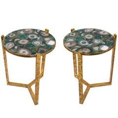 Pair of French Gilt Iron and Agate Side Tables, circa 1940s