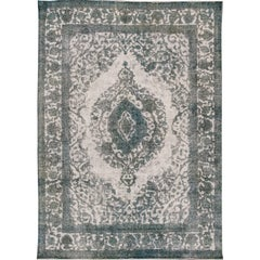 Early 20th Century Antique Gray, Blue Overdyed Persian Rug