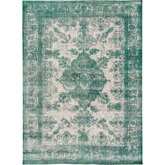 Early 20th Century Antique Green Overdyed Persian Rug