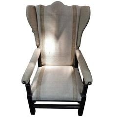 Adjustable Reclining Upholstered Wing Chair, France, 18th Century
