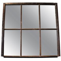French Industrial Window Frame Mirror
