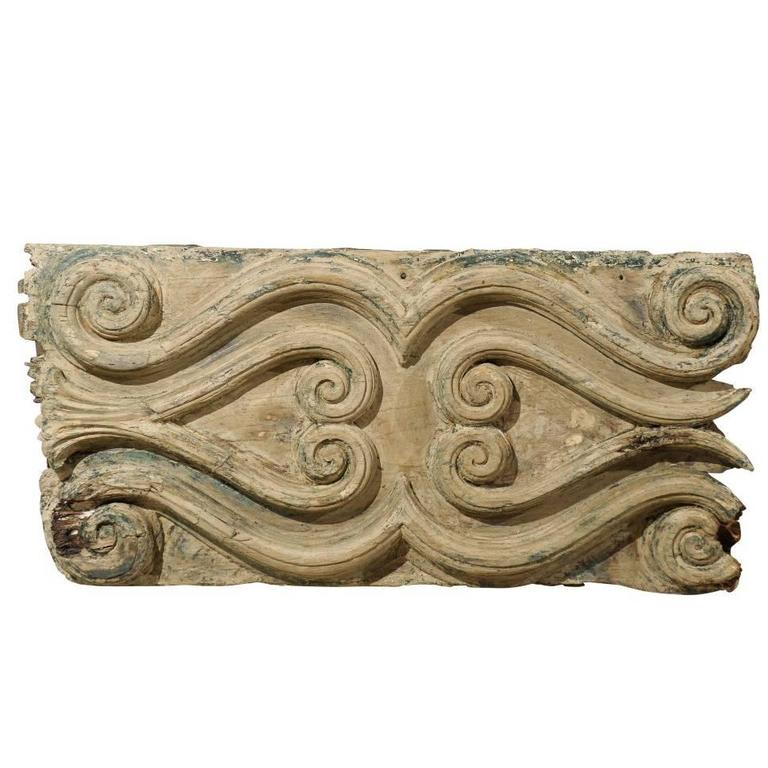 Italian Wood Carved Decorative Wall Plaque, Volute Motifs, Blue ...