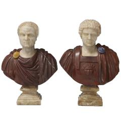 Pair of Small Multicolor Marble Roman Busts