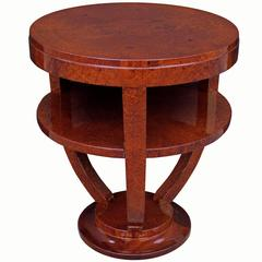 Single Art Deco Two-Tier Round Side Table