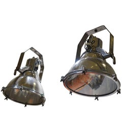 Large Aluminum Industrial Search Light, England, 1930s