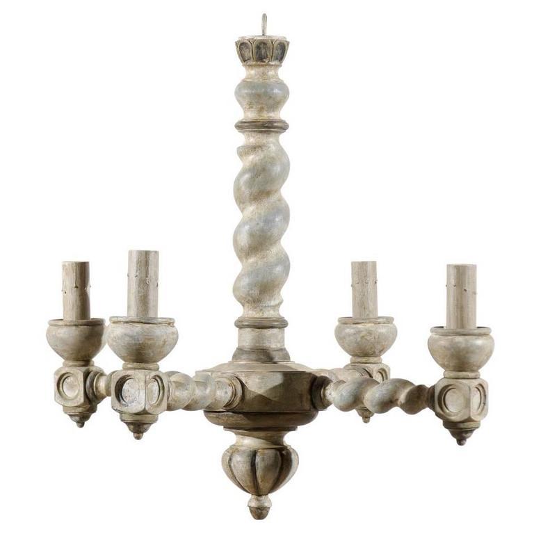 Twist Wood Columns : French barley twist central column wood chandelier with