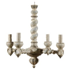 French Barley Twist Central Column Wood Chandelier with Four Lights