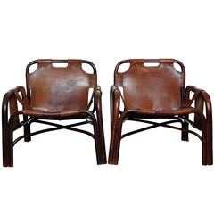 Pair of Italian Leather Safari Chairs in the Style of Arne Norell