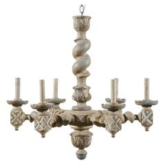 French Six-Light Barley Twist Chandelier with Central Column and Acanthus Leaves