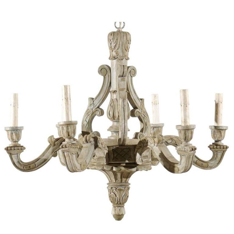 French Vintage Six-Light Wood Chandelier with Ornate Carvings and Scroll Arms