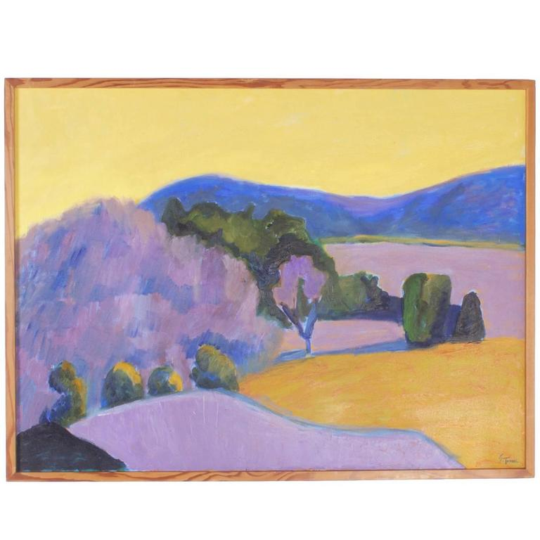 Mid-Century Landscape Painting on Canvas by Sally Turner For Sale