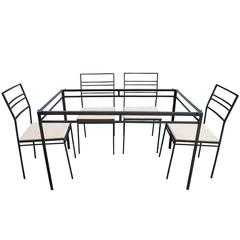 Indoor/Outdoor Wrought Iron Dining Set of Six Chairs and Glass Table by Arbuck