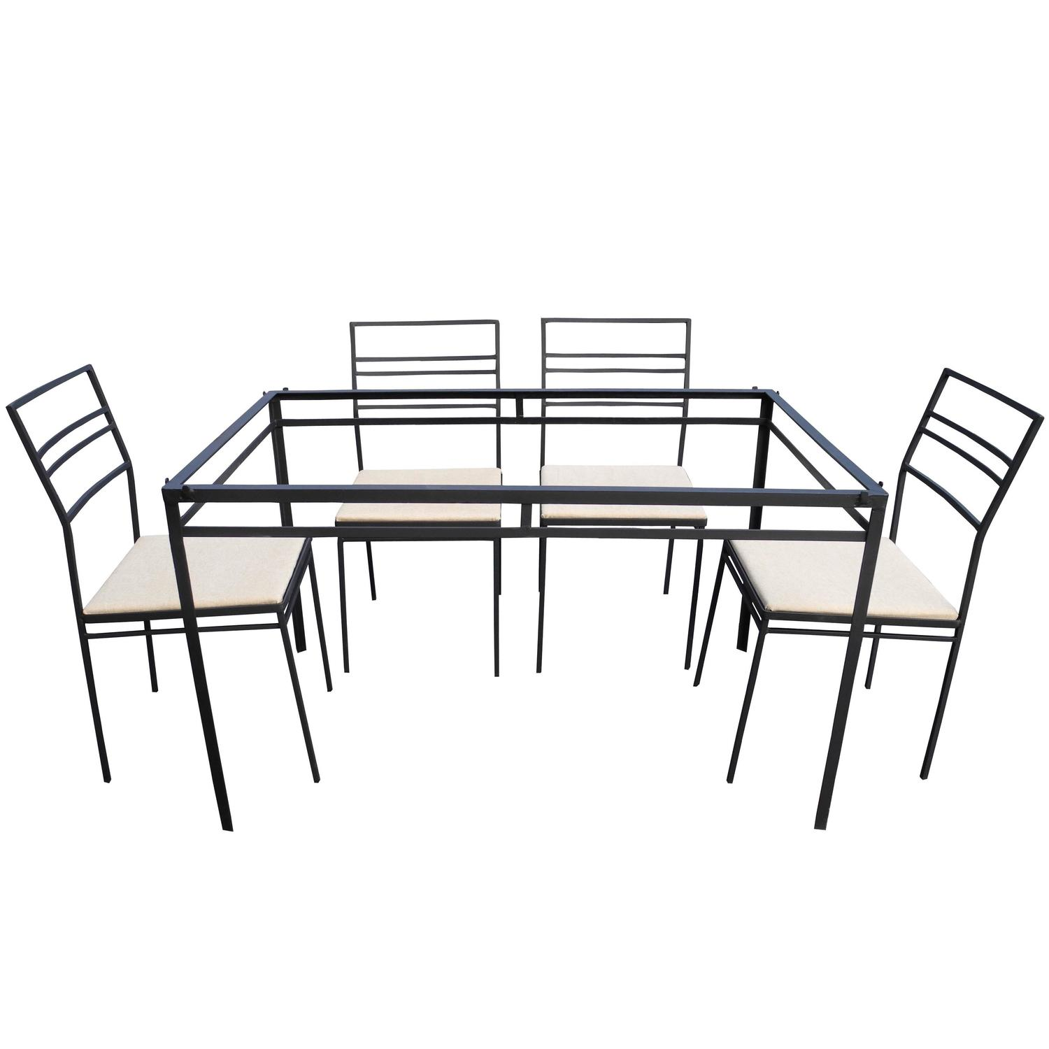 Indoor/Outdoor Wrought Iron Dining Set of Six Chairs and ...