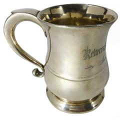 Rare Silvered Pint Capacity American Pewter Mug, Engraved, 1791