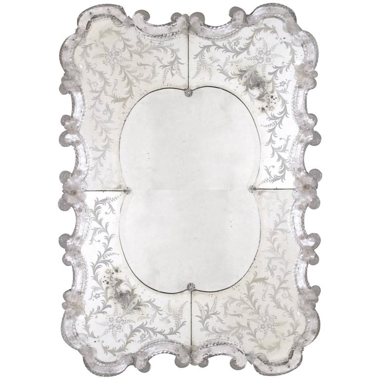 Stunning and Shapely Venetian Rectangular-Form Etched Mirror
