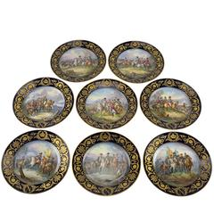"Eight French 19th Century Cabinet Plates with Emperor Napoleon by ""Sevres"""