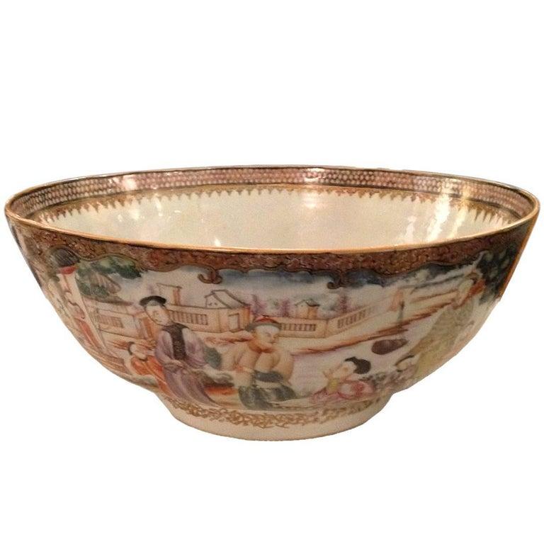 Chinese Export Qing Qianlong Famille Rose Medallion Porcelain Bowl For Sale