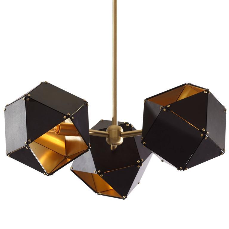 Welles Spoke Pendant, Black, Satin Brass