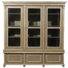 French 19th Century Wood Cabinet with Three Glass Doors Raised on Round Feet