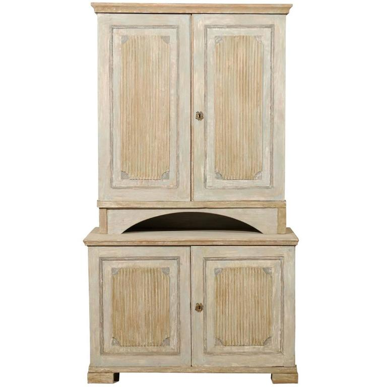 Period Gustavian Swedish Cabinet from 19th Century with Many Interior Shelves