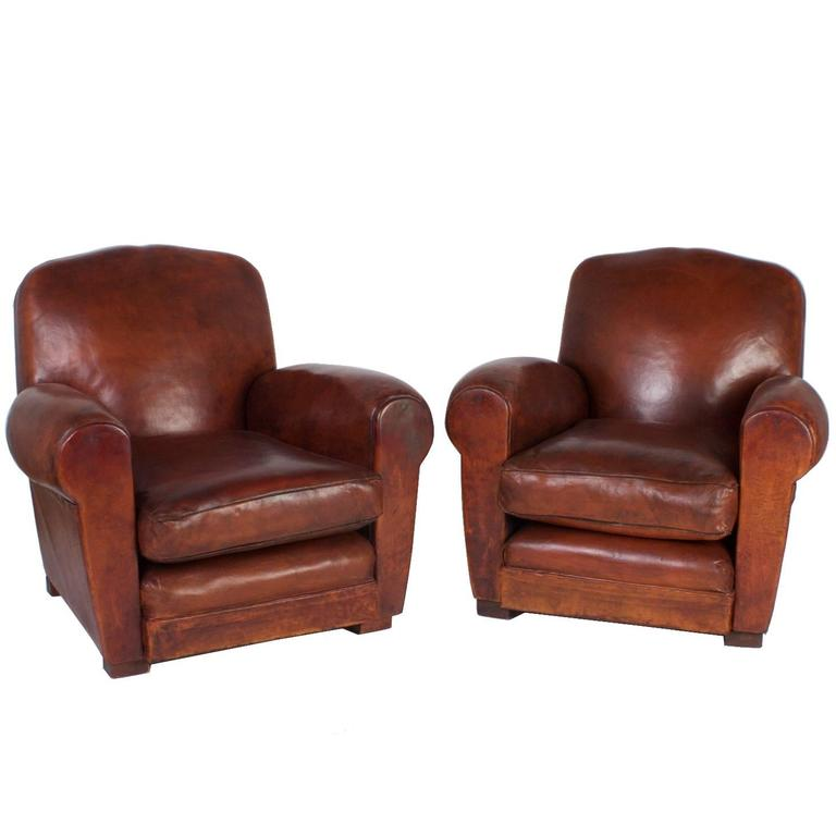Handsome Art Deco Pair Of Brown Leather Club Chairs For