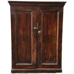 Cuban Wall Cabinet with Decorative Cigar Labels Applied