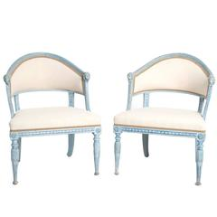 Pair of Blue-Painted Late Gustavian Tub Armchairs