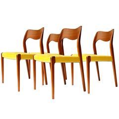 Set of Four Chairs Designed by N.O. Møller. Denmark, 1950.