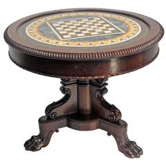 English Regency Mahogany and Marble Game Table