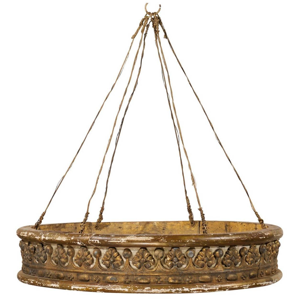 Italian Mid-19th Century Painted & Giltwood Bed Corona / Bed Crown, Large-Size