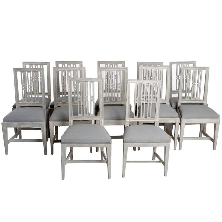 Set Of 12 Gustavian Dining Chairs For Sale Nice Look