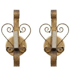Pair of Spanish Single Light Sconces Each Flanked by Scroll Motifs