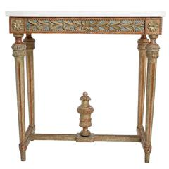 Giltwood Gustavian Console Table with Marble Top