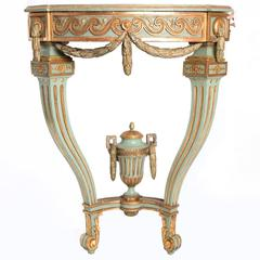 18th Century Painted and Gilded Gustavian Corner Console Table