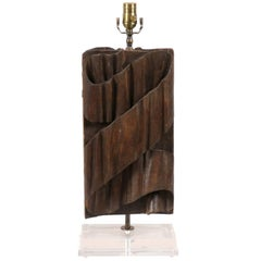 Single Italian Fragment Made into a Table Lamp with Carved Wood Ribbon Motif