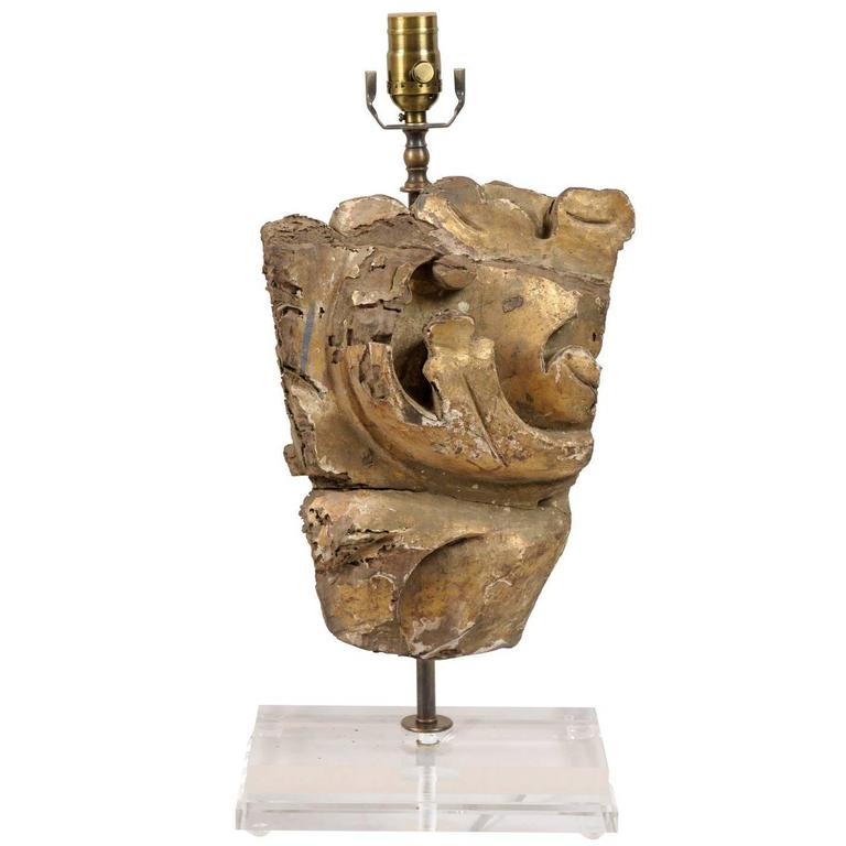 Single Italian Gilded Wood Fragment Table Lamp with Lucite Base