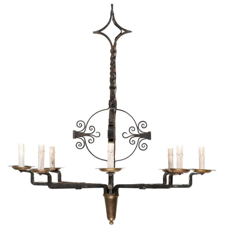 Italian Eight-Light Wrought Iron Chandelier in Black and Dark Gold Color For Sale