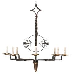 Italian Eight-Light Wrought Iron Chandelier in Black and Dark Gold Color