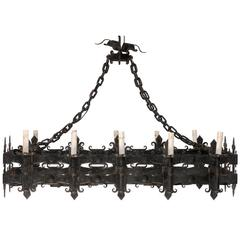 Italian Black Forged Iron Rectangular Shaped Chandelier with Ten Lights